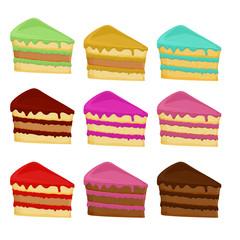 Cartoon Set  cake slices