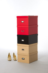 Shoe storage boxes in different colours