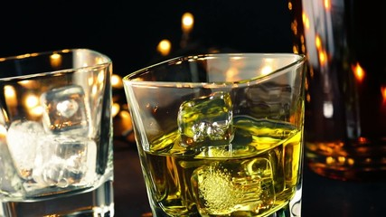 pouring whiskey on bar table, whisky relax time concept
