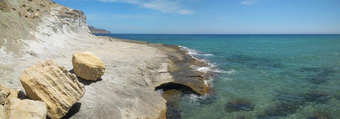 Mediterranean stone coastline in Almeria, Spain