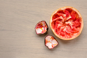 Eaten grapefruit and passion fruit leftovers