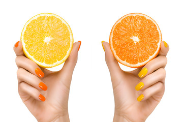 Woman Hands Holding Fresh Citrus Fruits. Healthy Diet Concept