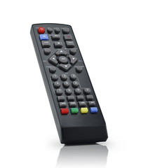 TV remote control on white background