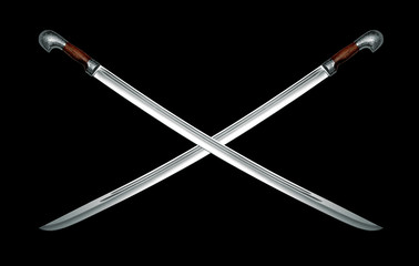Two naked Circassian cavalry swords on black