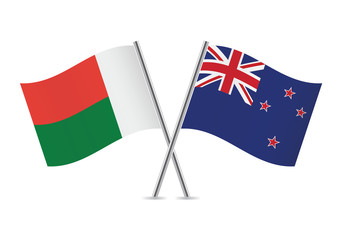 Madagascar and New Zealand flags. Vector illustration.