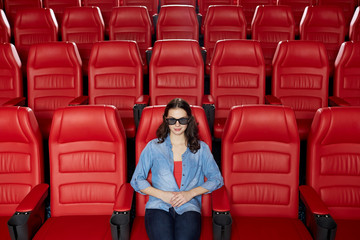 young woman watching movie in 3d theater