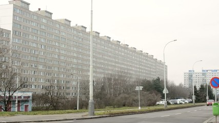 old vintage high-rise block of flats (communism)