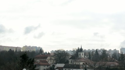 panorama of the village and housing estate (block of flats)