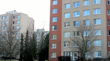 housing estate (block of flats) with nature