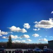 canvas print picture - Sunny Sky over Parking place