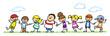 Leinwanddruck Bild - Kinder halten Hände auf einer Wiese