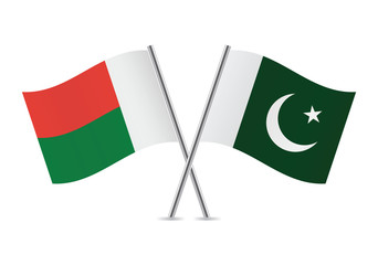 Madagascar and Pakistan flags. Vector illustration.