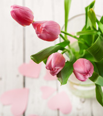 Pink tulips in vase close up image