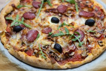 Fresh Delicious Pepperoni Pizza Homemade