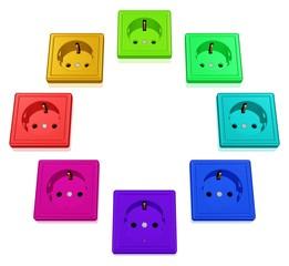 Kreis aus bunten Steckdosen - Wahl des Stromanbieters