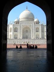 Iconic view of Taj Mahal mausoleum in Agra India