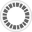 round black and white piano keyboard frame - 79244486