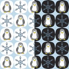 seamless cartoon penguin snowflake pattern