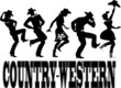 Постер, плакат: Country western dance and music silhouette banner