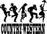 Fototapety Country-western dance and music silhouette banner