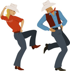 Couple dancing country-western