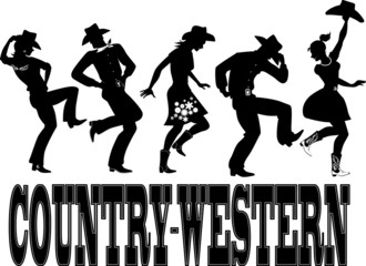 Country-western dance and music silhouette banner