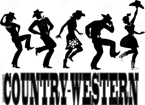 Country-western dance and music silhouette banner - 79244812