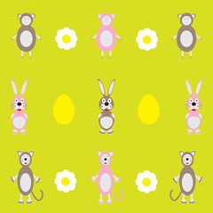 colorful background with sheep and rabbit