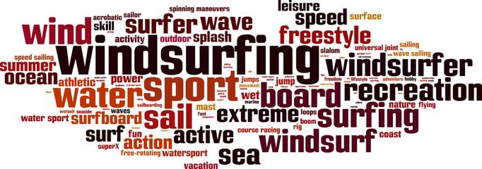 Windsurfing word cloud concept. Vector illustration