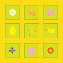 colorful background with chick and font