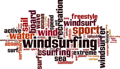 Windsurfing word cloud concept. Vector illustration