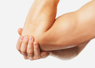 Pain in a male elbow