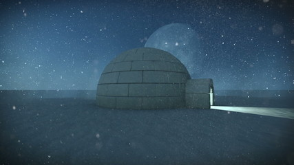 Igloo isolated in the snow at night with full moon background