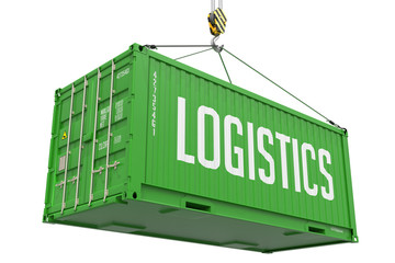 Logistics - Green Hanging Cargo Container.