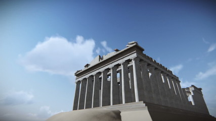 Airplane flying over the Parthenon, Acropolis, Athens, Greece