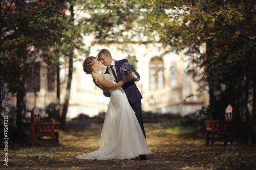 Leinwanddruck Bild wedding dance the bride and groom at a wedding