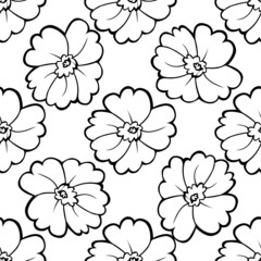 seamless pattern of black and white flowers Vector illustration