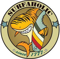 funny tiger shark surfer illustration