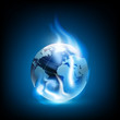 Planet earth and blue flames - 79247853