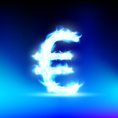 Euro sign burning blue flame