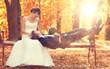 summer wedding photo of bride and groom - 79248806