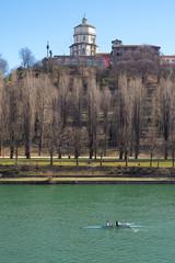 Monte dei Cappuccini abbey and Po river, Turin, vertical shot