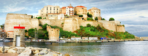Papiers peints Fortification Calvi, Corsica. Panoramic view with fortress in marina