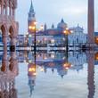 canvas print picture - Venedig Markusplatz Dogenpalast Spiegelung