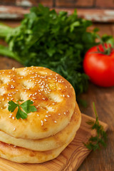 Homemade flat bread with sesame