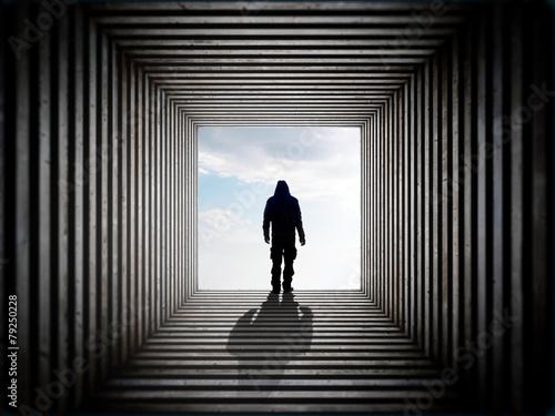 Aluminium Tunnel Man in the tunnel