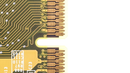 Close up of circuit board moving down on white background