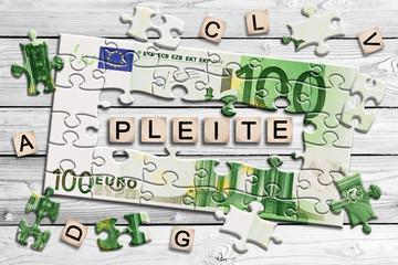 Geldscheinpuzzle - Pleite