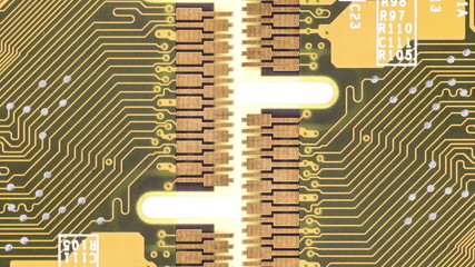 Close up of circuit boards moving by each other on white