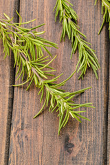 fresh rosemary on the wooden board